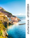 morning view of amalfi... | Shutterstock . vector #692018884