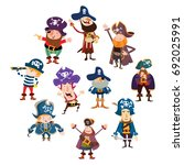 variation of funny pirates... | Shutterstock .eps vector #692025991