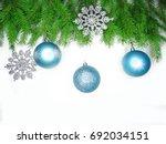 christmas background with fir... | Shutterstock . vector #692034151
