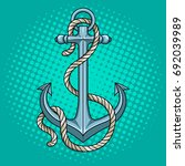 anchor with rope pop art style... | Shutterstock .eps vector #692039989