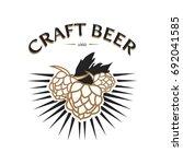 craft beer logo design on white ... | Shutterstock .eps vector #692041585