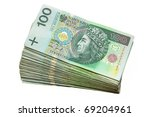 Stack of 100's polish zloty - stock photo