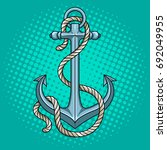 anchor with rope pop art style... | Shutterstock . vector #692049955