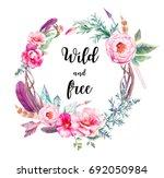 watercolor boho chic eucalyptus ...   Shutterstock . vector #692050984