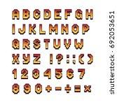 pixel retro font computer games ... | Shutterstock .eps vector #692053651