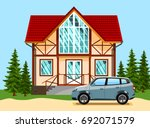 beautiful two storey house with ... | Shutterstock .eps vector #692071579