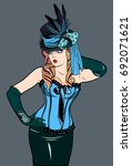beautiful girl in a corset and... | Shutterstock .eps vector #692071621