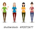 set of four young women dressed ... | Shutterstock .eps vector #692072677