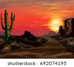 wild west sunset landscape... | Shutterstock .eps vector #692074195