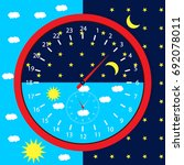 clock face day and night. sun... | Shutterstock .eps vector #692078011