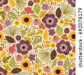 seamless autumn pattern with... | Shutterstock .eps vector #692078179