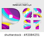 carved paper art  font design.... | Shutterstock .eps vector #692084251