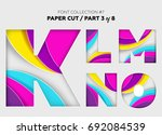 carved paper art  font design.... | Shutterstock .eps vector #692084539