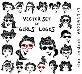 set of vector logos with faces... | Shutterstock .eps vector #692095171
