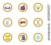 ninja assassin icon set.... | Shutterstock .eps vector #692095357
