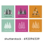 a set of doodle christmas cards ... | Shutterstock .eps vector #692096539