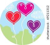 heart balloon trio | Shutterstock .eps vector #69211312