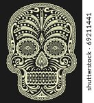 ornate sugar skull | Shutterstock .eps vector #69211441