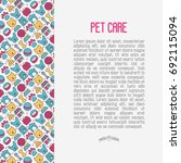 Stock vector pet care concept with thin line icons of dog cat accessories food toys vector illustration for 692115094