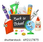 funny composition of stationery ... | Shutterstock .eps vector #692117875