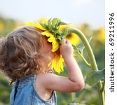 cute child with sunflower in... | Shutterstock . vector #69211996