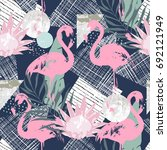 abstract print with  flamingo... | Shutterstock .eps vector #692121949