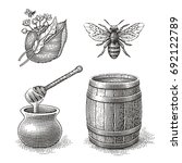 honey pot  bee  wood barrel and ... | Shutterstock .eps vector #692122789
