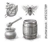 Honey Pot  Bee  Wood Barrel An...