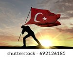 Turkey Flag Being Pushed Into...
