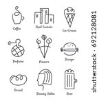 vector set of linear icons ... | Shutterstock .eps vector #692128081