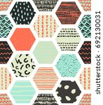 colorful seamless patterns with ... | Shutterstock .eps vector #692130031