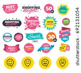 sale shopping banners. happy... | Shutterstock .eps vector #692131054