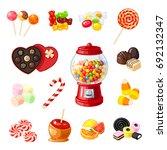 set single cartoon candies ... | Shutterstock .eps vector #692132347