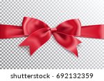 realistic satin red bow knot on ... | Shutterstock .eps vector #692132359
