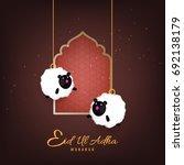 happy eid ul adha  vector... | Shutterstock .eps vector #692138179