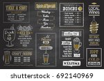 cocktails menu chalkboard set ... | Shutterstock .eps vector #692140969
