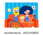 a girl and a boy are watching a ... | Shutterstock .eps vector #692145805