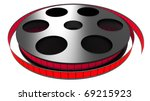 3d color film rolled on a white ... | Shutterstock . vector #69215923