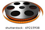 3d color film rolled on a white ... | Shutterstock . vector #69215938