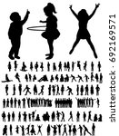 set of silhouettes of children... | Shutterstock .eps vector #692169571