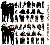 set of family silhouettes ... | Shutterstock .eps vector #692169631