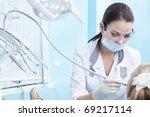 The dentist treats your child's teeth - stock photo