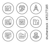 set round line icons of... | Shutterstock .eps vector #692177185