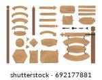 cartoon wood banners boards...   Shutterstock . vector #692177881