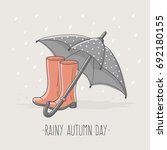rainy autumn day card with... | Shutterstock .eps vector #692180155