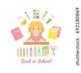 schoolgirl with school supplies ...   Shutterstock .eps vector #692180869