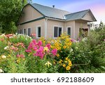 Stock photo the flower bed against the house with phlox lilies roses asters and other flowers 692188609