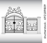 gates forged  fence | Shutterstock .eps vector #692189809