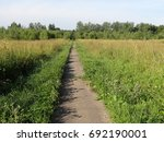 road through the field. | Shutterstock . vector #692190001