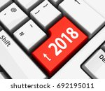 computer keyboard with 2018...   Shutterstock . vector #692195011